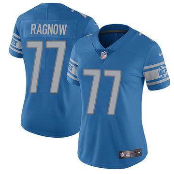Nike Lions #77 Frank Ragnow Light Blue Team Color Women's Stitched NFL Vapor Untouchable Limited Jersey