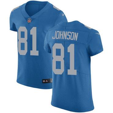 Nike Lions #81 Calvin Johnson Blue Alternate Men's Stitched NFL Vapor Untouchable Elite Jersey