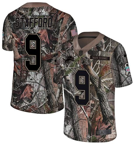 Nike Lions #9 Matthew Stafford Camo Men's Stitched NFL Limited Rush Realtree Jersey