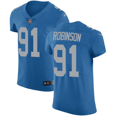 Nike Lions #91 A'Shawn Robinson Blue Throwback Men's Stitched NFL Vapor Untouchable Elite Jersey