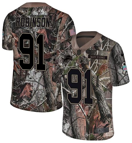 Nike Lions #91 A'Shawn Robinson Camo Men's Stitched NFL Limited Rush Realtree Jersey