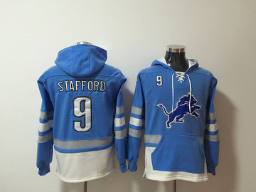 Nike Lions 9 Matthew Stafford Blue Pullover Hoodie