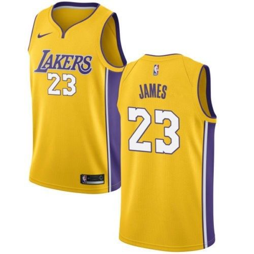 Nike Los Angeles Lakers # 23 Lebron James Gold NBA Authentic Icon Edition Jersey