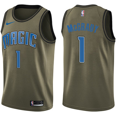 Nike Magic #1 Tracy Mcgrady Green Salute to Service NBA Swingman Jersey