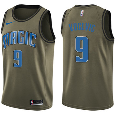 Nike Magic #9 Nikola Vucevic Green Salute to Service NBA Swingman Jersey