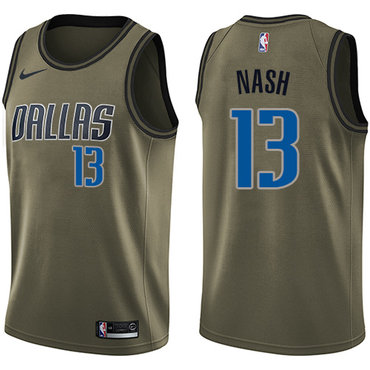 Nike Mavericks #13 Steve Nash Green Salute to Service NBA Swingman Jersey