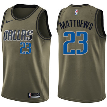 Nike Mavericks #23 Wesley Matthews Green Salute to Service NBA Swingman Jersey