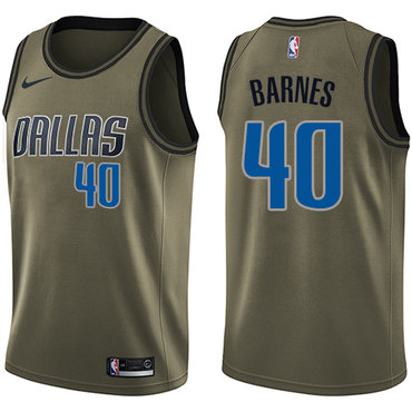Nike Mavericks #40 Harrison Barnes Green Salute to Service NBA Swingman Jersey