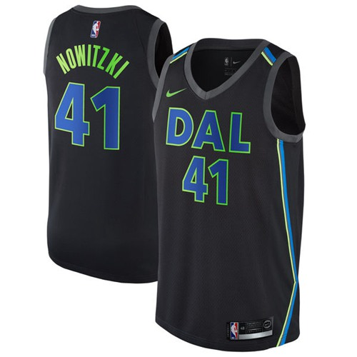 Nike Mavericks #41 Dirk Nowitzki Black NBA Swingman City Edition Jersey