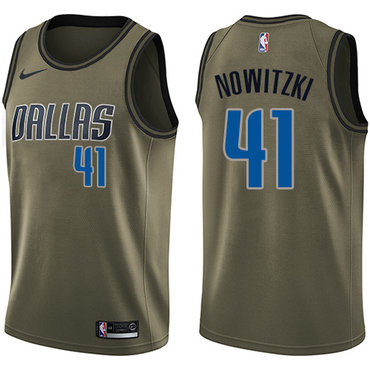 Nike Mavericks #41 Dirk Nowitzki Green Salute to Service NBA Swingman Jersey