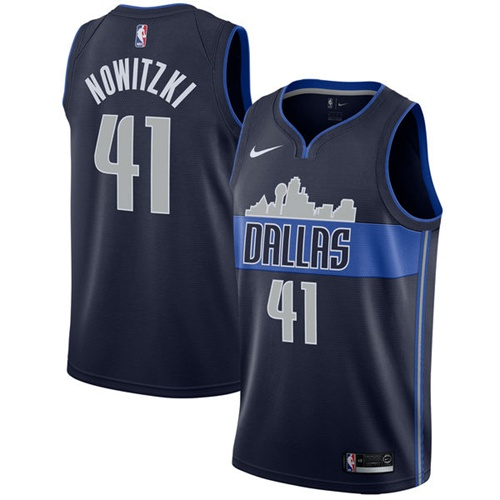 Nike Mavericks #41 Dirk Nowitzki Navy NBA Swingman Statement Edition Jersey