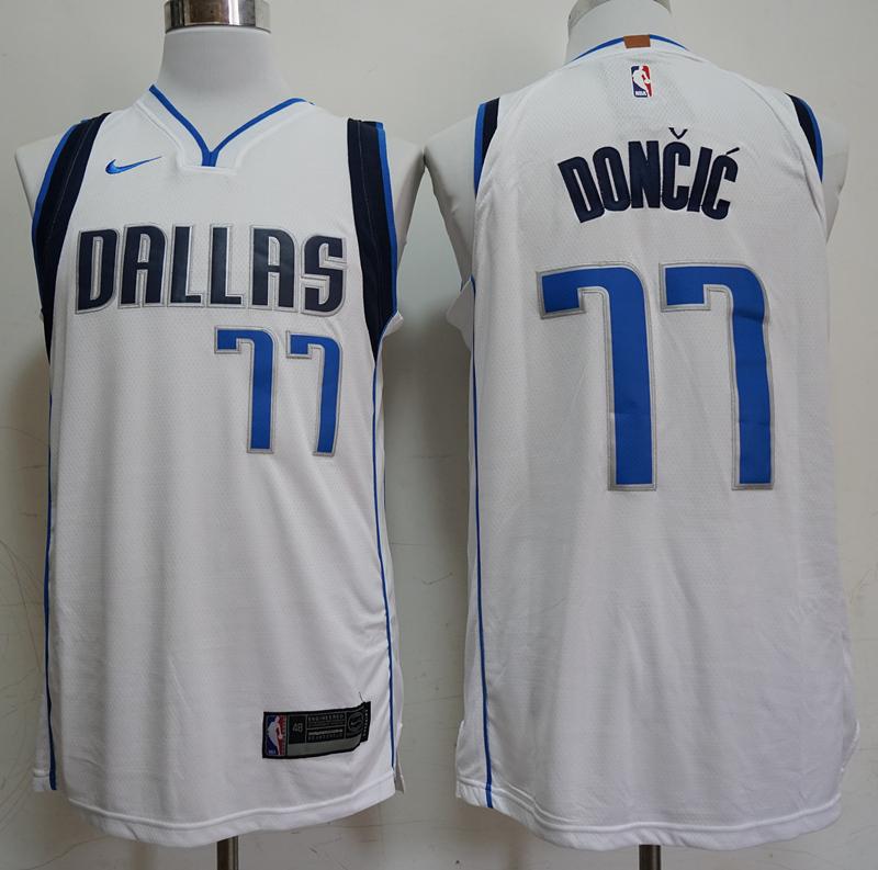 Nike Mavericks 77 Luka Doncic White Nike Swingman Jersey