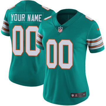 Nike NFL Miami Dolphins Vapor Untouchable Customized Elite Aqua Green Alternate Women's Jersey