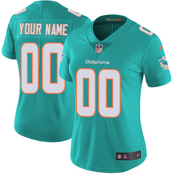 Nike NFL Miami Dolphins Vapor Untouchable Customized Elite Aqua Green Home Women's Jersey