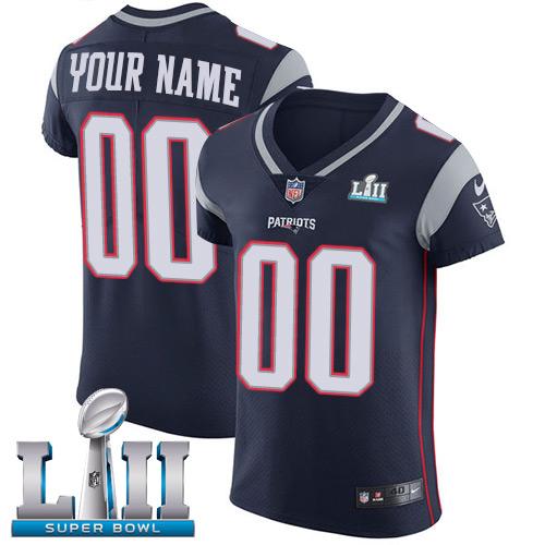 Nike NFL New England Patriots Vapor Untouchable Customized Super Bowl LII Elite Navy Blue Home Men's Jersey
