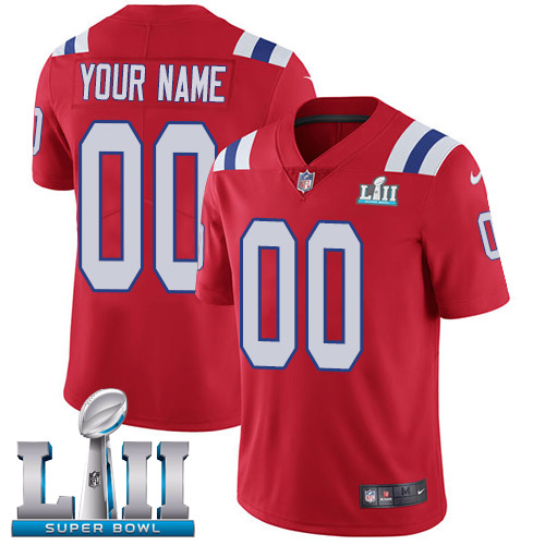 Nike NFL New England Patriots Vapor Untouchable Customized Super Bowl LII Limited Red Alternate Men's Jersey