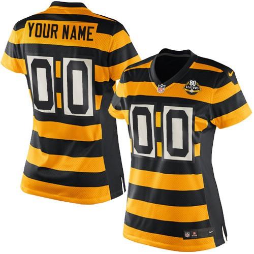 Nike NFL Pittsburgh Steelers Throwback Customized 80th  Elite Gold Black Alternate Women's Jersey