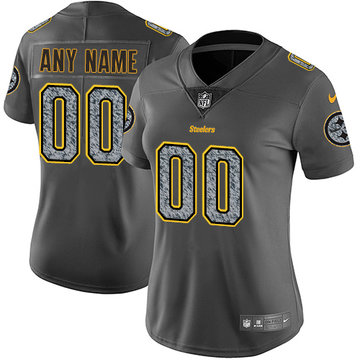 Nike NFL Pittsburgh Steelers Vapor Untouchable Customized Limited Gray Static Women's Jersey
