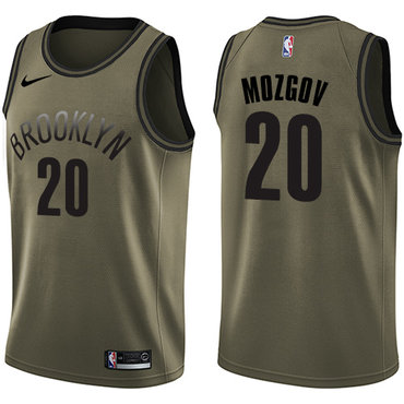 Nike Nets #20 Timofey Mozgov Green Salute to Service NBA Swingman Jersey