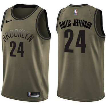 Nike Nets #24 Rondae Hollis-Jefferson Green Salute to Service NBA Swingman Jersey