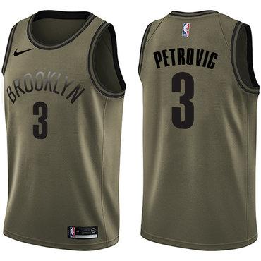 Nike Nets #3 Drazen Petrovic Green Salute to Service NBA Swingman Jersey