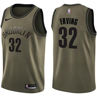 Nike Nets #32 Julius Erving Green Salute to Service NBA Swingman Jersey