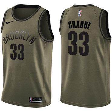 Nike Nets #33 Allen Crabbe Green Salute to Service NBA Swingman Jersey