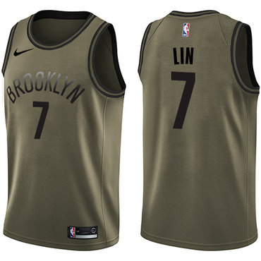 Nike Nets #7 Jeremy Lin Green Salute to Service NBA Swingman Jersey