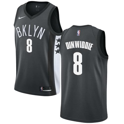 Nike Nets #8 Spencer Dinwiddie Gray NBA Swingman Statement Edition Jersey