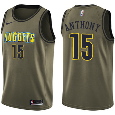 Nike Nuggets #15 Carmelo Anthony Green Salute to Service NBA Swingman Jersey