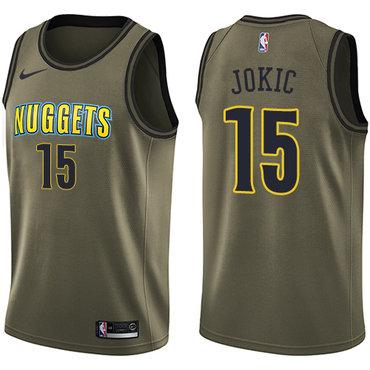 Nike Nuggets #15 Nikola Jokic Green Salute to Service NBA Swingman Jersey