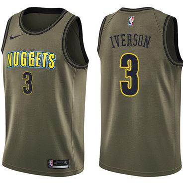 Nike Nuggets #3 Allen Iverson Green Salute to Service NBA Swingman Jersey