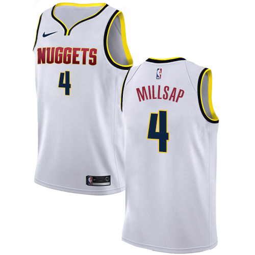 Nike Nuggets #4 Paul Millsap White NBA Swingman Association Edition Jersey