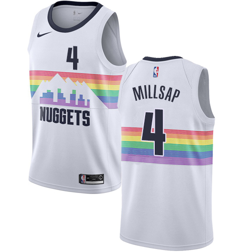 Nike Nuggets #4 Paul Millsap White NBA Swingman City Edition 2018 19 Jersey