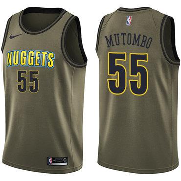 Nike Nuggets #55 Dikembe Mutombo Green Salute to Service NBA Swingman Jersey