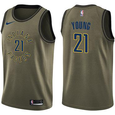 Nike Pacers #21 Thaddeus Young Green Salute to Service NBA Swingman Jersey