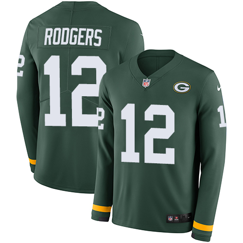 Nike Packers #12 Aaron Rodgers Green Team Color jerseyssite.net Men's Stitched NFL Limited Therma Long Sleeve Jersey