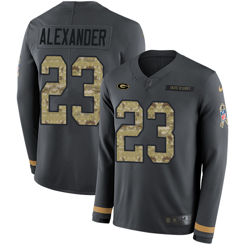 Nike Packers #23 Jaire Alexander Anthracite Salute to Service Men's Stitched NFL Limited Therma Long Sleeve Jersey