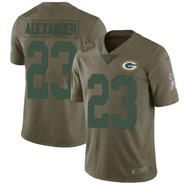 Nike Packers #23 Jaire Alexander Olive Youth Stitched NFL Limited 2017 Salute to Service Jersey