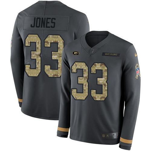 Nike Packers #33 Aaron Jones Anthracite Salute to Service Men's Stitched NFL Limited Therma Long Sleeve Jersey