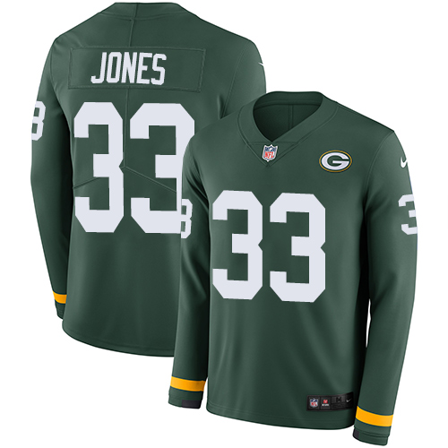 Nike Packers #33 Aaron Jones Green Team Color Men's Stitched NFL Limited Therma Long Sleeve Jersey