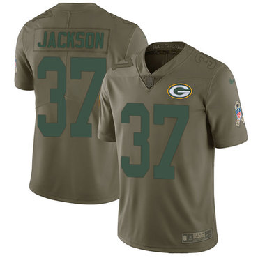 Nike Packers #37 Josh Jackson Olive Youth Stitched NFL Limited 2017 Salute to Service Jersey