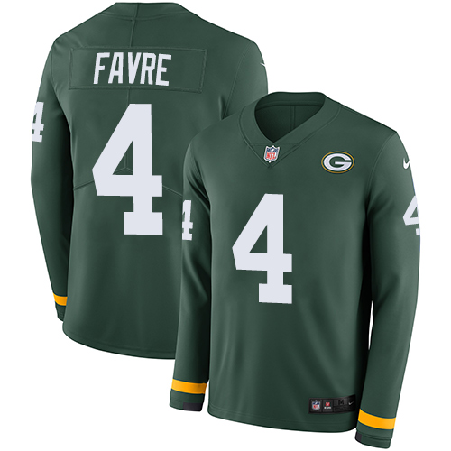 Nike Packers #4 Brett Favre Green Team Color Men's Stitched NFL Limited Therma Long Sleeve Jersey