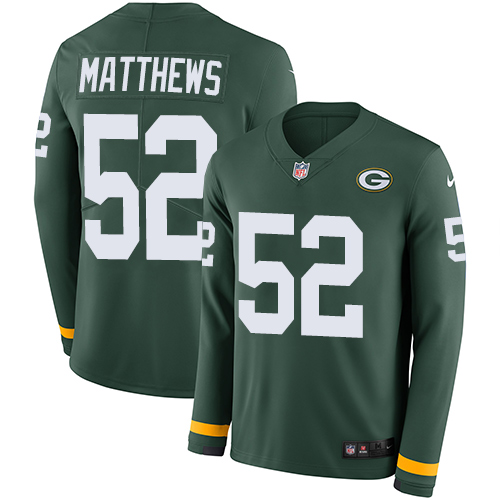 Nike Packers #52 Clay Matthews Green Team Color Men's Stitched NFL Limited Therma Long Sleeve Jersey