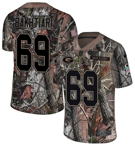 Nike Packers #69 David Bakhtiari Camo Men's Stitched NFL Limited Rush Realtree Jersey