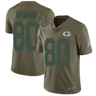 Nike Packers #80 Jimmy Graham Olive Youth Stitched NFL Limited 2017 Salute to Service Jersey