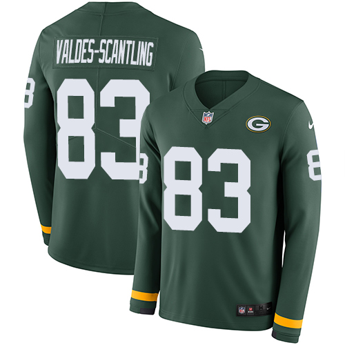 Nike Packers #83 Marquez Valdes-Scantling Green Team Color Men's Stitched NFL Limited Therma Long Sleeve Jersey