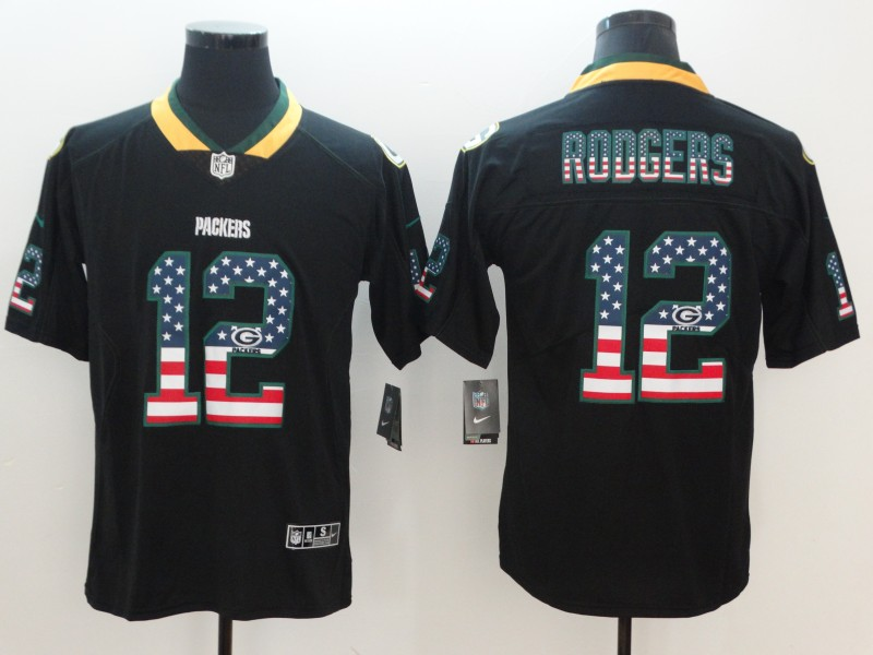 Nike Packers 12 Aaron Rodgers Black USA Flag Fashion Color Rush Limited Jersey