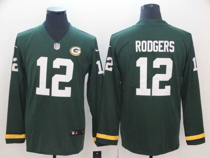 Nike Packers 12 Aaron Rodgers Green Therma Long Sleeve Jersey