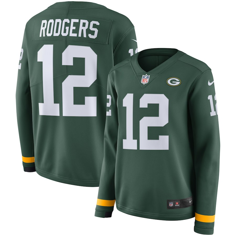 Nike Packers 12 Aaron Rodgers Green Women Therma Long Sleeve Jersey